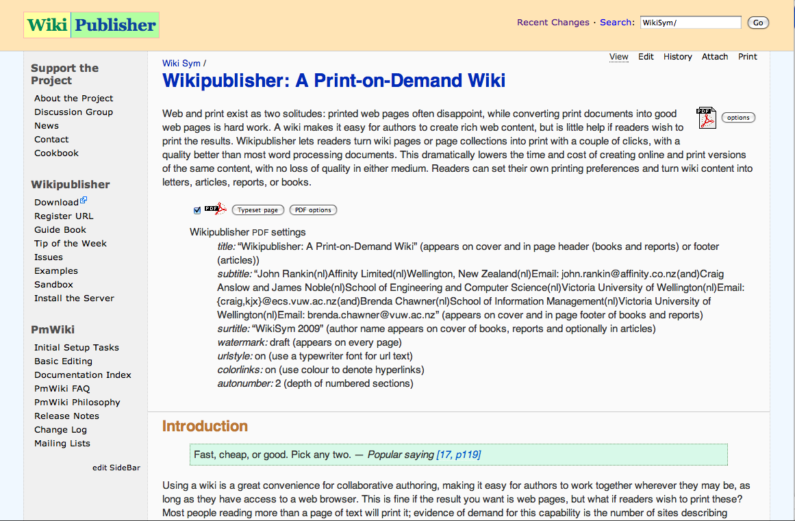 Wikipublisher as wiki